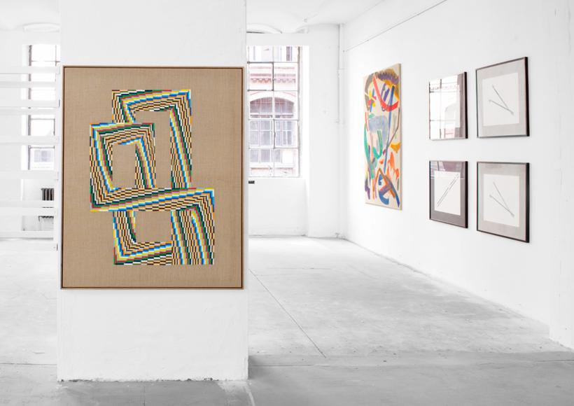 <p>Ausstellungsansicht (v.l.n.r.): Christopher Kline, Kirsten Blümke, Friedemann Heckel</p>