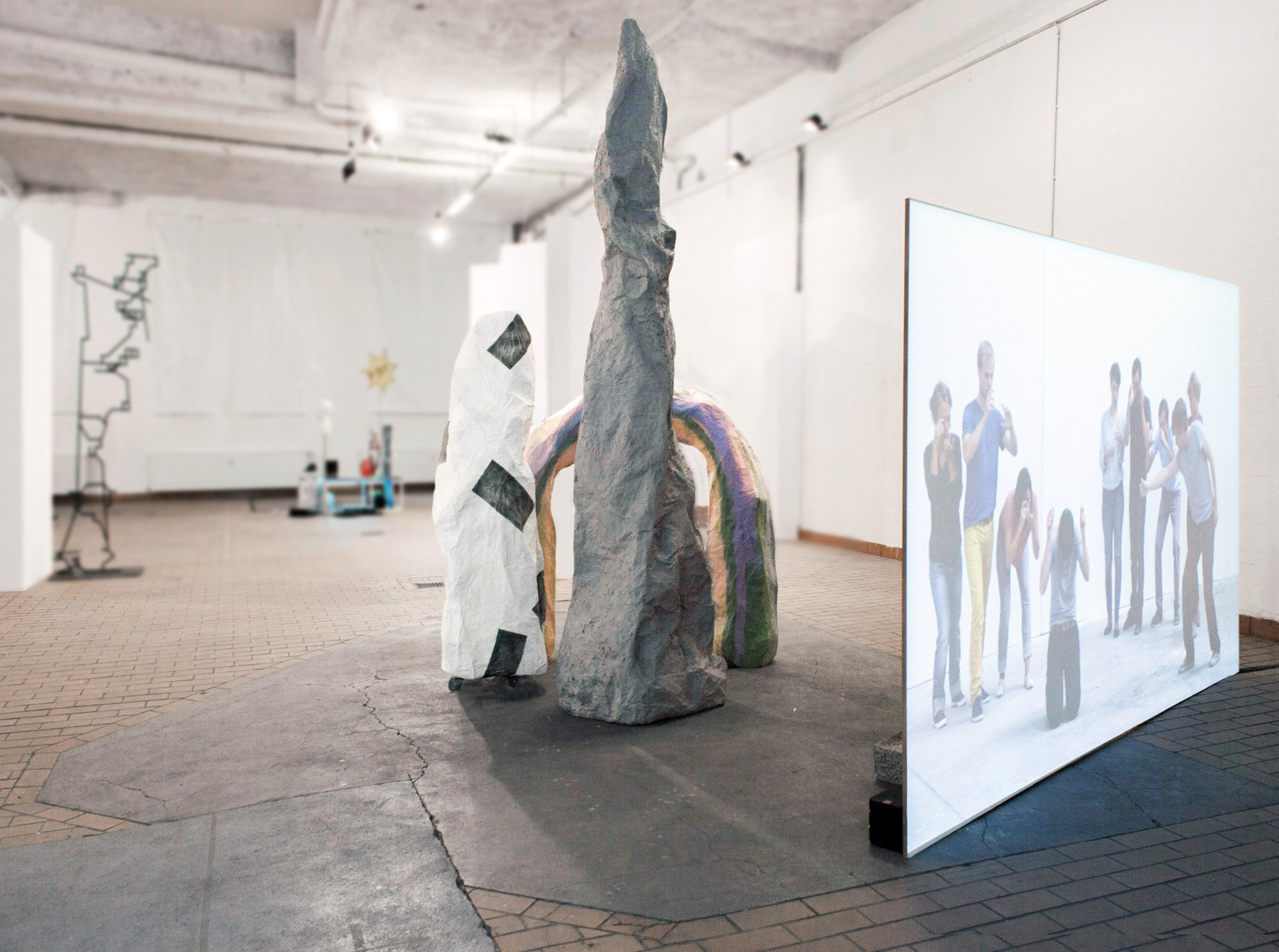 <p>Exhibition view (left-right): Dan Stockholm, Julian Weber, Linda Kuhn, Yvon Chabrowksi</p>